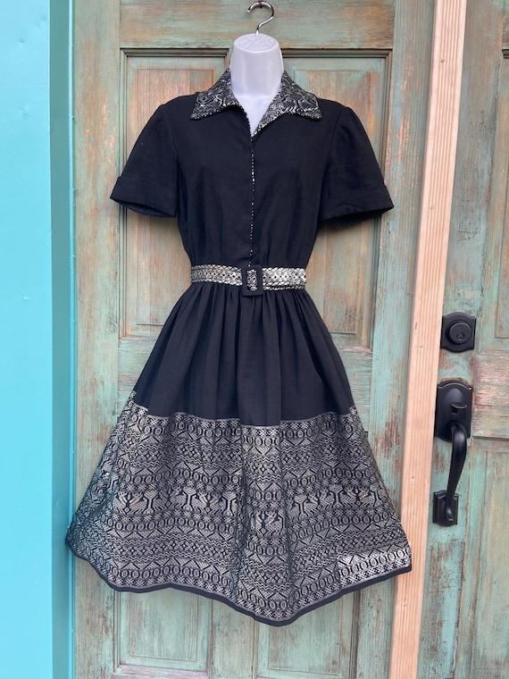 1950s Black Silver Lamé Patio Dress - image 1
