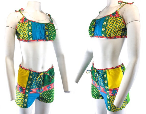 1960s Patchwork Cotton 2 Piece Bathing Suit Bikini