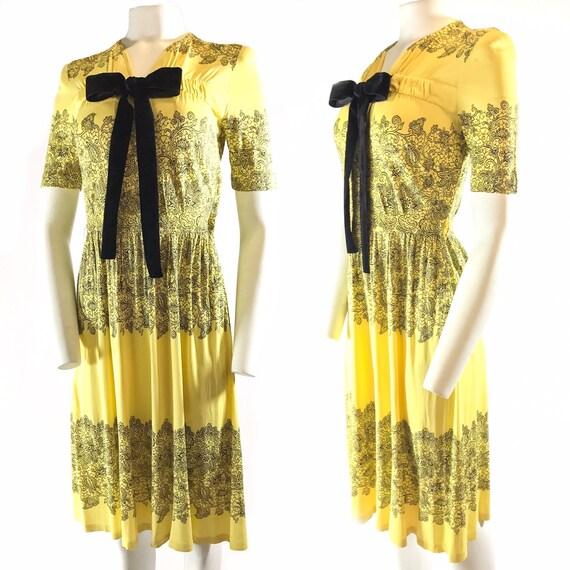 1940s Yellow Black Print Nylon Dress Jean Lang