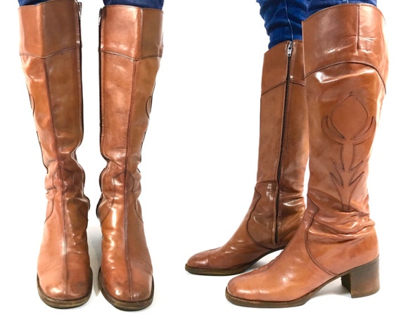 1970s Light Brown Leather Italian Boots, Bartoli o