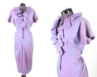 1940s Iridescent Purple Vintage Dress, Martini Designed