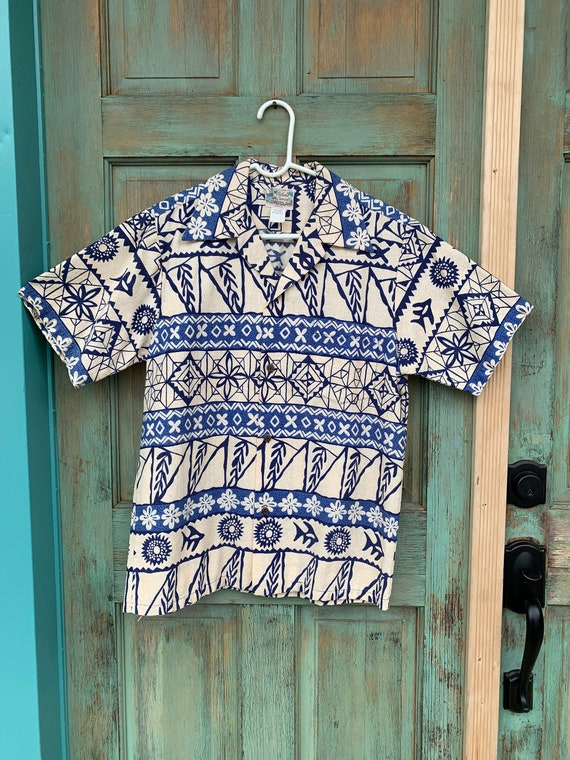 Mens Beige Blue Vintage Hawaiian Shirt