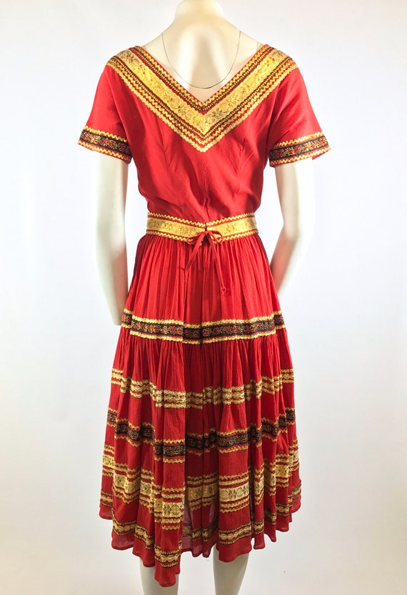 1950s Red Gold Patio Dress - image 7