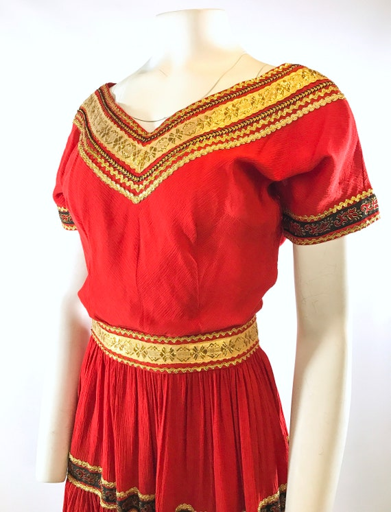 1950s Red Gold Patio Dress - image 5