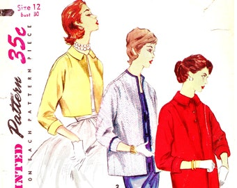 1985f2eeb2 1950s Bust 30 Misses Jacket Evening Topper Bolero Coat Vintage Sewing  Pattern Simplicity 1451 c 1956 50s