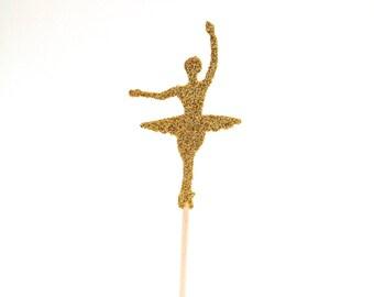12 Gold Glitter Ballerina Cupcake Toppers