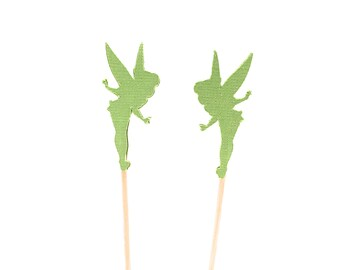 24 Lightly Glittered Bright Green Tinker Bell  Tink Tinkerbell Cupcake Toppers - Party Picks - Food Picks