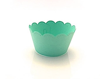 12 Scalloped Mint Green Cupcake Wrappers