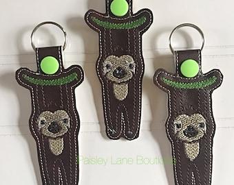 Sloth keychain, hanging sloth snap tab, funny gift, sloth stocking stuffer