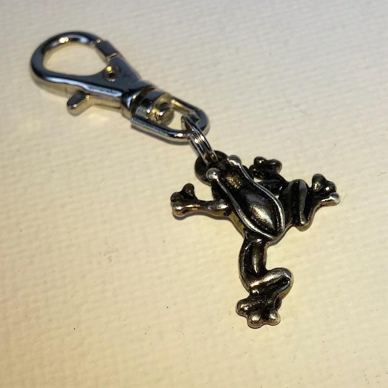 Silver Frog Zipper Pull Keychain Backpack Clip Amphibian Charm