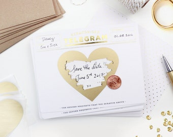 Scratch-off Telegram // Gold Foil // Write in surprise message, happy birthday, birthday card, be my bridesmaid, bridesmaid box, thank you