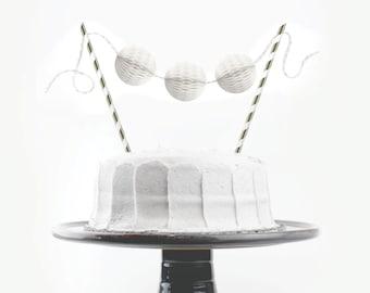Cake Topper Kit // White & Silver // Birthday Cake Topper, Bridal Shower, Wedding Cake Topper, Shower Decoration, White Shower, Baby