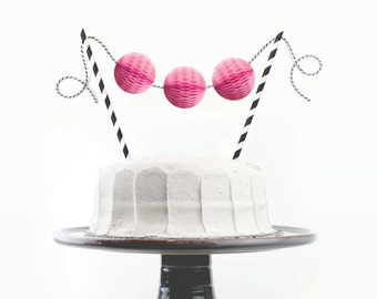 Cake Topper Kit // Fuchsia Pink and Black // Birthday Cake Topper, First Birthday Cake, Bachelorette Cake, Chic Party Decor, Bridal Shower