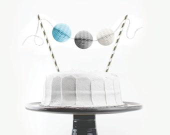 Cake Topper Kit // Blue, Grey & White // Birthday Cake Topper, Bridal Shower, Wedding Cake Topper, First Birthday Cake, Baby Boy Shower