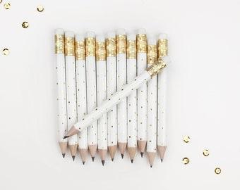 Gold Dot Mini Pencils // Bridal or Baby Shower Game Pencils, Mini Pencils, Golf Pencils, Wedding Pencils, Shower Favor