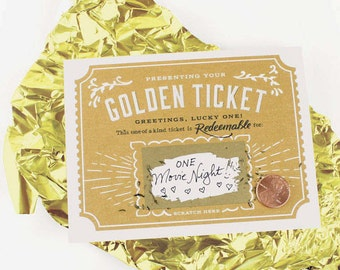 Scratch-off Golden Ticket Greeting Card // Write Your Own Message // Gold foil, mystery card, happy birthday, hidden gift, surprise card