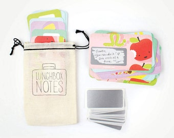 NEW! 24 Scratch-off Lunchbox Notes  // Mini Cotton Drawstring Bag // Back to school, lunch box note, first day of school gift, kids lunches