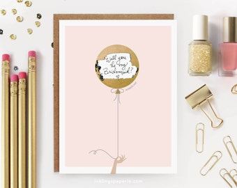 "Scratch-off ""Be My Bridesmaid?"" Card // Ask Bridesmaids, Maid of Honor Card, Bridesmaid Proposal, Bridesmaid Box // Gold Foil Balloon"