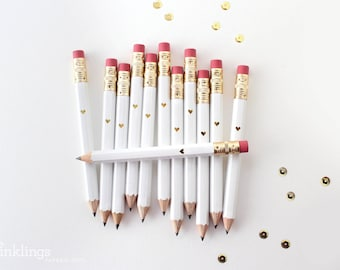 White and Gold Foil Heart Mini Pencils // Bridal or Baby Shower Game Pencils, Mini Pencils, Golf Pencils, Wedding Pencils, Shower Favor