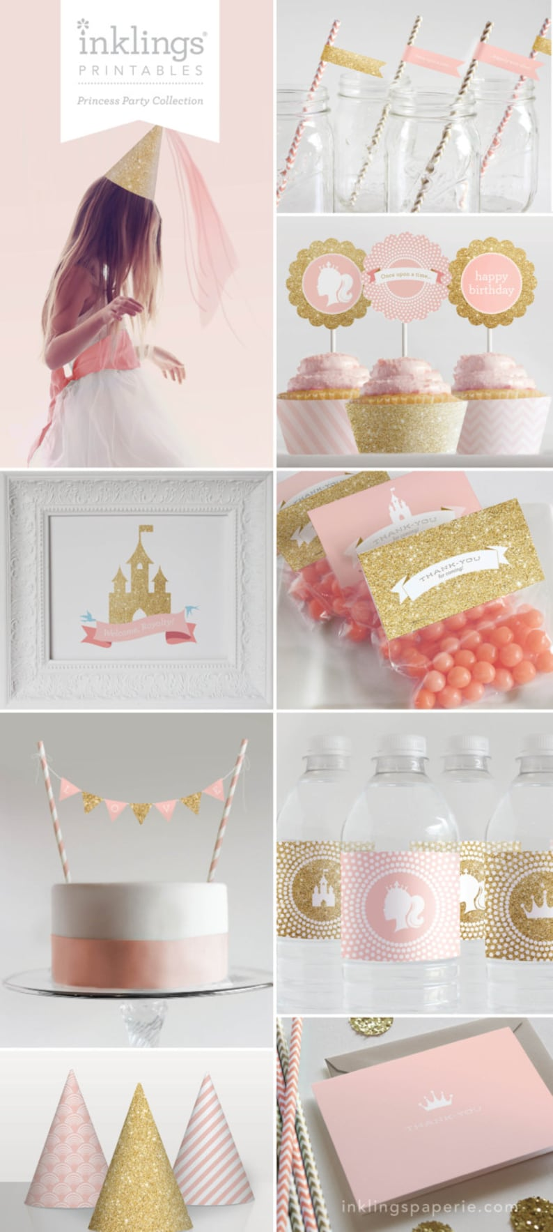 picture regarding Princess Party Printable known as Princess Get together Printable Decorations // Birthday Social gathering, Women of all ages Birthday Get together, Initial Birthday Occasion // Red and Gold Glitter Selection