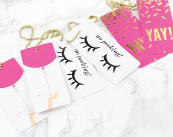 Set of 6 Luxe Gift Tags // Birthday // Chic birthday gift wrapping, birthday tags, gold foil and fuchsia, yay!, no peeking, hot pink balloon