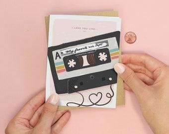 Scratch-off Mix Tape Card // Friend Valentine, Girlfriend Valentine, Love Card, Anniversary Card, Greeting Card, Cassette Tape Card