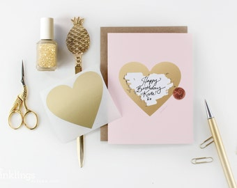 Scratch-off Birthday Card // Pink and Gold Heart // DIY write in secret message, pink girly birthday card, cards for her, surprise card