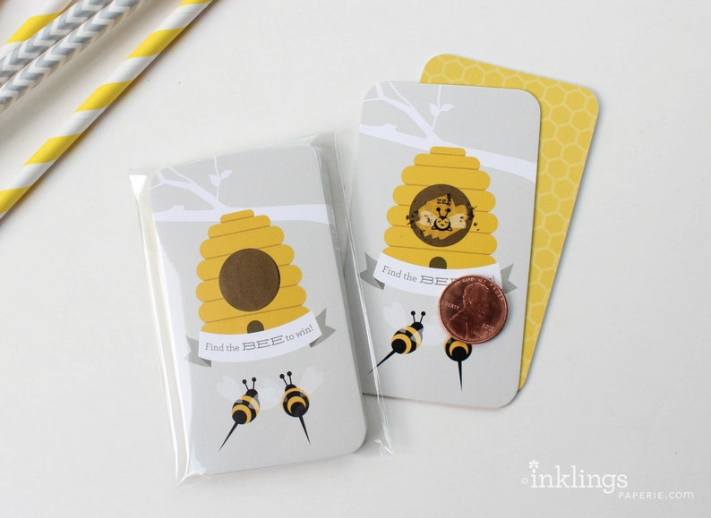 Honey Party Baby Shower Activity Scratch-off Cards  Baby Shower Game Party Game Farmers Market Party  Baby Bee Scratch-off Game