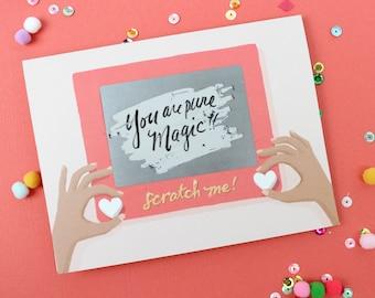 Scratch-off Valentine's Day Card // Scratch-A-Sketch // Write in secret message, hidden message, vintage, valentine