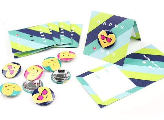 NEW! Blue Emoji Button Valentines // DIY Valentines, Unique Valentines, Child's Valentines, Valentine's Day, Candy Free Valentines