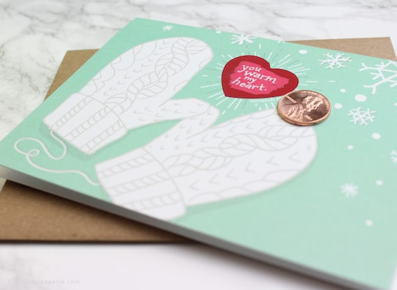 "NEW!! 6 Scratch-off Mitten Cards // ""You Warm My Heart"" // Mint Winter Mittens Card, Christmas Card Box Set, Holiday Card Box Set, Thank you"