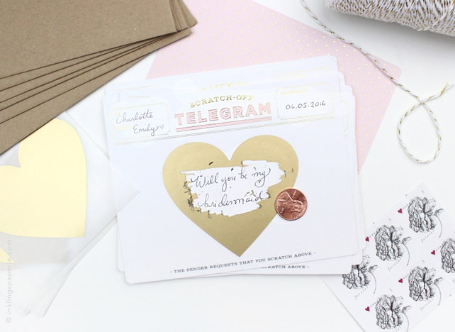 Scratch-off Telegram // Pink & Gold Foil // DIY Write in for birthday card, be my bridesmaid, pregnancy announcement, save the date