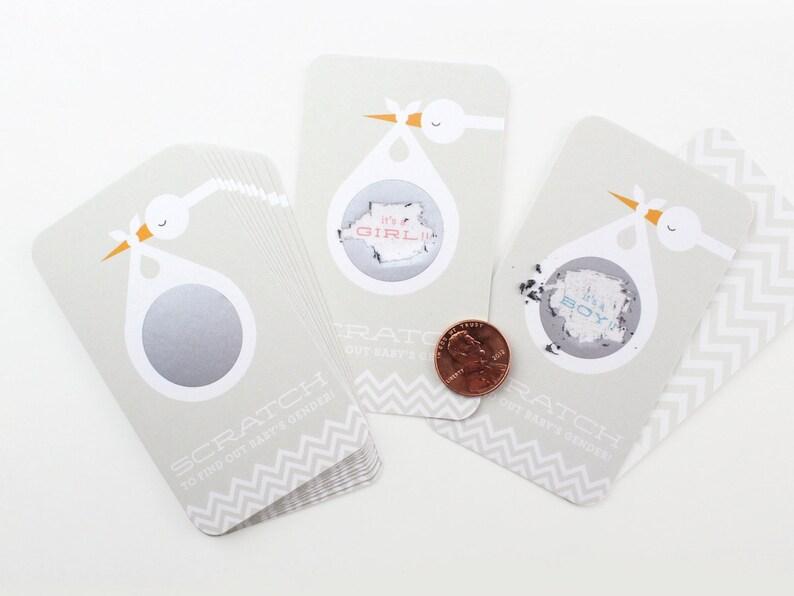 12 Baby Gender Reveal Scratch-off Cards // Grey Stork // image 0