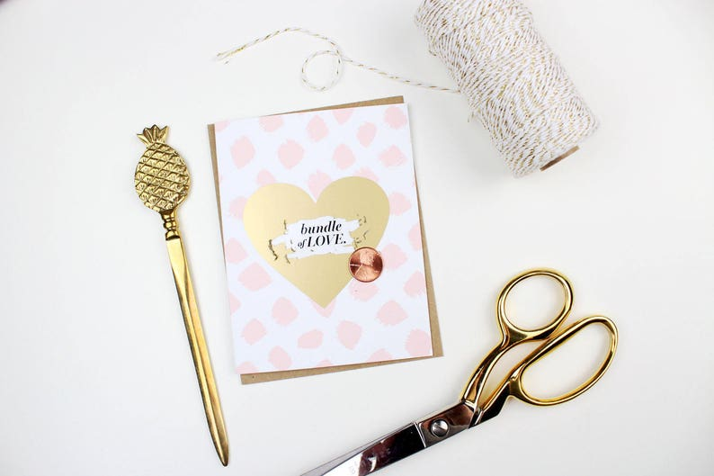 welcome baby Scratch-off Bundle of Love New Baby Card  Pink and Gold  Birth announcement baby girl card baby shower card new baby