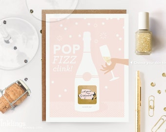 """6 Scratch-off """"Pop Fizz Clink"""" Will You Be My Bridesmaid / Maid of Honor Write-in Invitations // Pink Champagne and Gold Foil // Set of 6"""