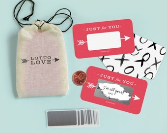 24 Scratch-off Love Notes  // Lotto Love // Love letters, scratch off ticket, back to school, I love you note, back to school, lunchbox note
