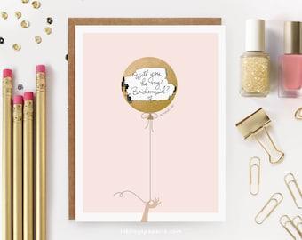 """6 Scratch-off """"Be My Bridesmaid?"""" Card // Ask Bridesmaids, Maid of Honor Card, Bridesmaid Proposal, Bridesmaid Box // Pink & Gold Balloon"""