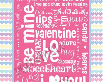 Be Mine Valentine Subway Art Typography PRINTABLE 11 X14 with FUN border, pastel colors, diy home decor