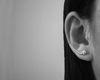 30th jewelry gift, one year anniversary, crawler earring crawler, silver ear sweeps, chic ear climber, bridal ear cuff, climbing earrings