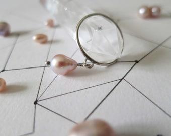 Unique pearl ring, bague argent femme,simple pearl ring, june birthstone ring, dainty pearl ring, delicate pearl ring, minimalist pearl ring