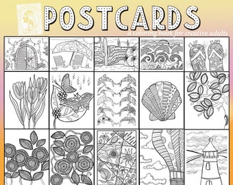 Color In Greeting Cards Adult Coloring Hello Postcards Old English Cards Color In Postcards Southern Postcard Adult Coloring Postcards