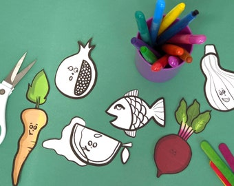 Rosh Hashanah Craft and Coloring Pages   Simanim Puppets for Kids     Toddler Preschool and older!    Jewish High Holiday Paper Toy Template