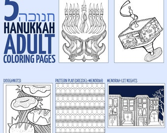 Hanukkah Puppets Printable Pdf Color In Coloring Pages Etsy