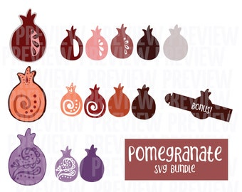 Pomegranate SVG Bundle - Layered   Jewish Cut File for Use with Cutting Machines   Rosh Hashanah Earrings and Decor Template DXF