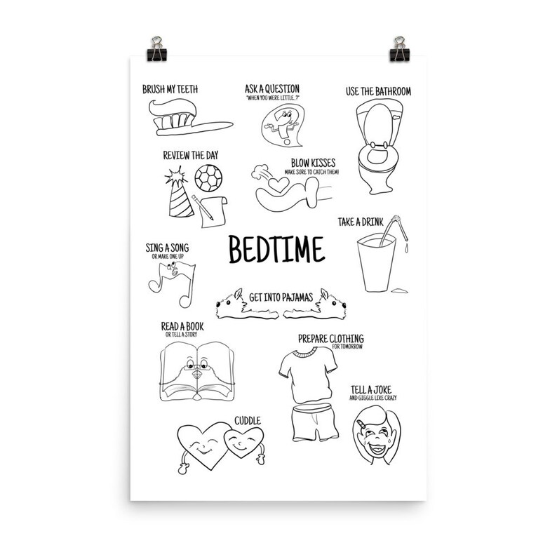 Bedtime Routine Chart Poster Coloring Poster Fun Kids Room