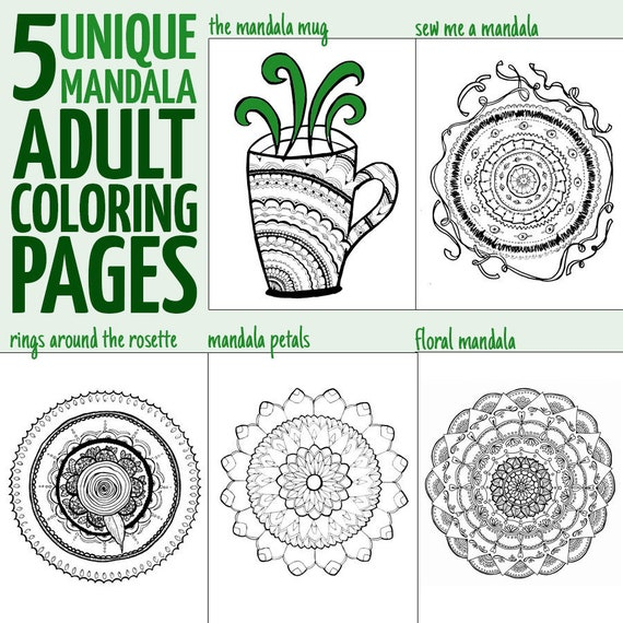 - Hand Drawn Mandala Adult Coloring Pages 5 Printable Detailed Etsy