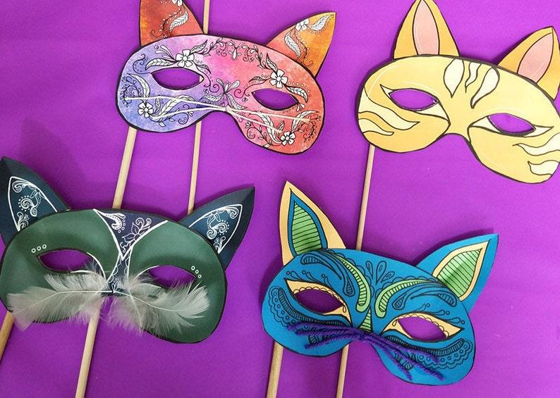 Cat Masks  Full Color  Paper Craft Template  masks for image 0