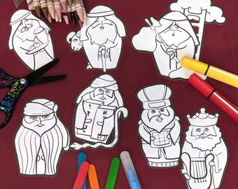 Sukkot Craft and Coloring Pages   Ushpizin Puppets for Kids     Toddler Preschool and older!    Jewish Sukkos High Holiday Paper Template