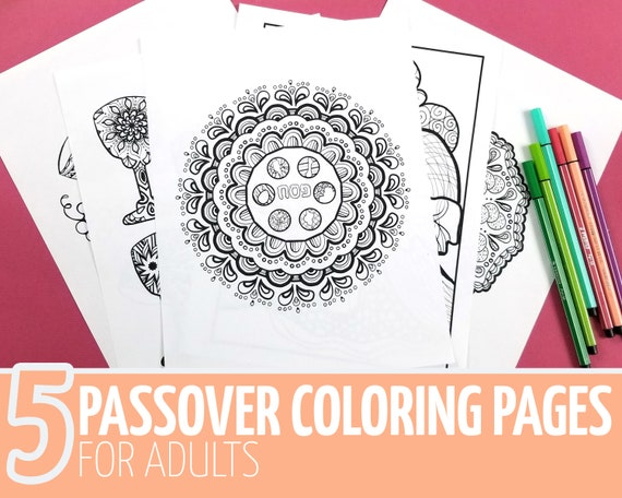 Passover Coloring Pages For Adults Printable Pesach Jewish Etsy