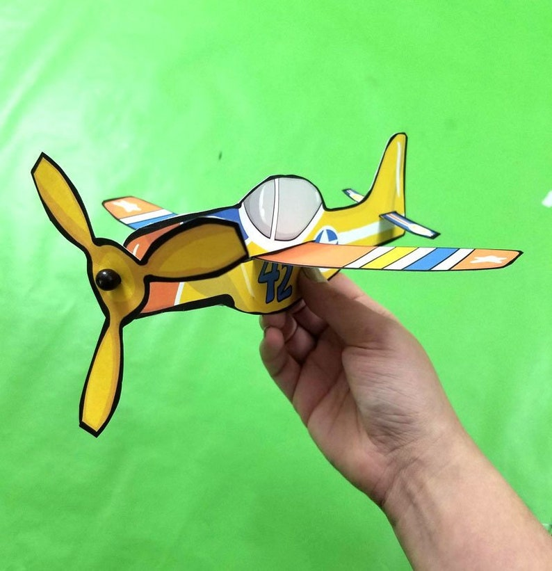 4 Styles Paper Airplanes  Full Color  Paper Craft Template  image 0